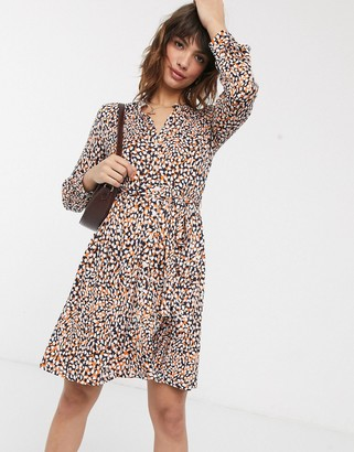 French Connection leopard print jersey mini shirt dress