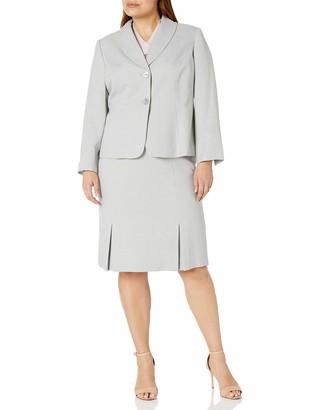 Le Suit LeSuit Women's Size Plus Herringbone 2 Bttn Shawl Collar Skirt