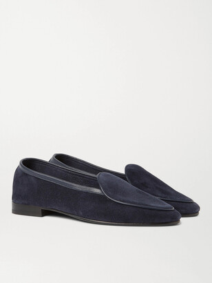 George Cleverley Hampton Leather-Trimmed Suede Loafers - Men - Blue