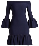 Jonathan Simkhai Off-the-shoulder fluted-hem knit dress