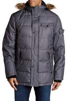 Nautica Faux Fur Hood Denim Puffer Coat