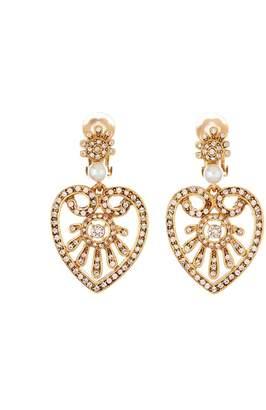 Oscar de la Renta Pave Heart Earrings