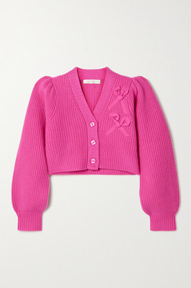 LoveShackFancy Avignon Cropped Appliqued Ribbed Cashmere Cardigan - Fuchsia
