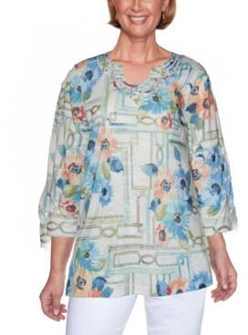 Alfred Dunner Petite Palo Alto Window-Print Top