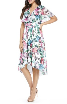 Maggy London Floral Capelet Sleeve Dress