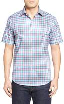 Bugatchi Shaped Fit Check Short Sleeve Sport Shirt