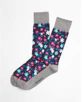 Express solid heel floral print dress socks