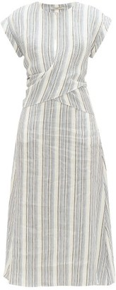 Three Graces London Striped Linen Midi Dress - Blue Stripe