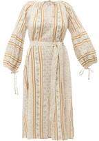D'Ascoli Devon Tie-waist Striped Floral-print Cotton Dress - Womens - Blue