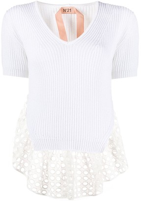 No.21 Perforated Trim Knitted Top