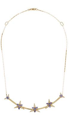 Carol Kauffmann Galactic Star 18K Yellow Gold Tanzanite Diamond Necklace