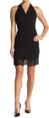 GUESS Lace Hem Button Down Dress