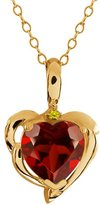 Gem Stone King 2.02 Ct Heart Shape Red Garnet Canary Diamond 14K Yellow Gold Pendant