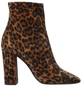 Saint Laurent Lou Leopard Print Heel Ankle Boots