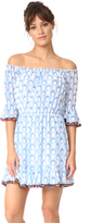 Athena Procopiou Cotton Breeze Short Dress with Pompoms