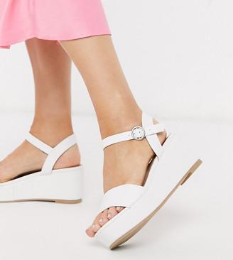 ASOS DESIGN Wide Fit Tallie flatform sandals in white