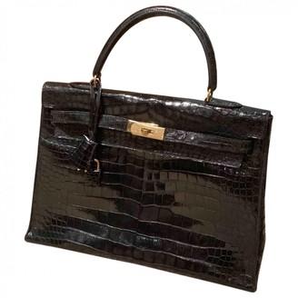 Hermes Kelly 35 Black Crocodile Handbags
