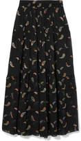 Chloé Chiffon-jacquard Maxi Skirt - Black