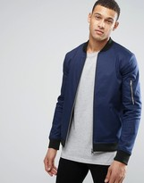 Asos Muscle Fit Bomber Jacket With MA1 Pocket in Blue