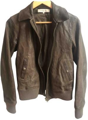 Gerard Darel Khaki Leather Leather Jacket for Women