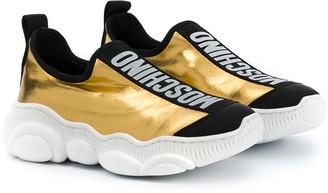 MOSCHINO BAMBINO TEEN logo colour-block sneakers