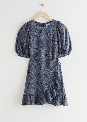 And other stories Ruffled Puff Sleeve Mini Dress
