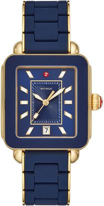 Michele Deco Sport Bracelet Watch in Navy