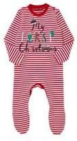 F&F My First Christmas Striped Sleepsuit, Newborn Unisex