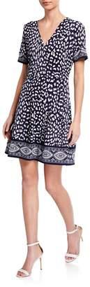 MICHAEL Michael Kors Printed Faux-Wrap Short Sleeve Dress