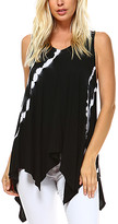 Urban X Women's Black/White - Black Maho Tie-Dye Sleeveless Handkerchief Top - Women