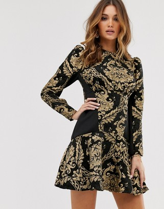 Asos Design DESIGN long sleeve jacquard pep hem mini skater dress
