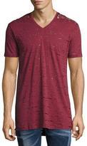 Diesel Garment-Wash Burnout V-Neck T-Shirt, Red