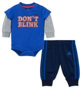"adidas 2-Piece ""Don't Blink"" Bodysuit and Pant Set in Blue"