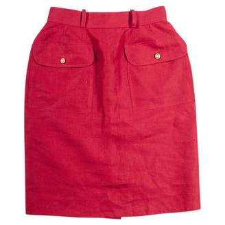Chanel Red Linen Skirts