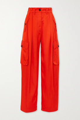Dries Van Noten Satin Wide-leg Cargo Pants - Orange