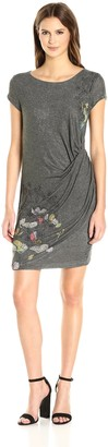 Desigual Women's Vila Knitted Short Sleeve Dress Mud XL