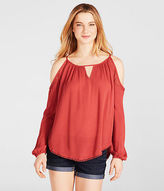 Aeropostale Womens Cape Juby Lace Cold Shoulder Top