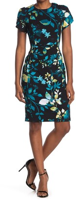 Calvin Klein Floral Short Sleeve Sheath Dress