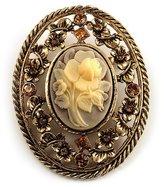 Avalaya Vintage Floral Crystal Cameo Brooch (Antique Finish)