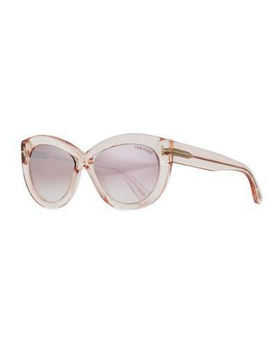 Tom Ford Diane Transparent Acetate Butterfly Sunglasses