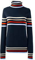 Classic Women's Petite Wool Turtleneck-Radiant Navy/Red Orange