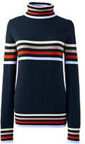 Lands' End Women's Wool Turtleneck-Radiant Navy/Red Orange