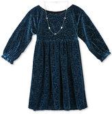 Speechless Velvet-Pattern Dress with Necklace, Big Girls (7-16)