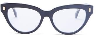 Fendi Ff Logo-engraved Cat-eye Acetate Glasses - Black