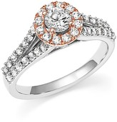 Bloomingdale's Diamond Halo Engagement Ring in 14K White and Rose Gold, 1.0 ct. t.w.