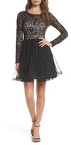 Sequin Hearts Women's Tie Back Glitter Lace Fit & Flare Minidress