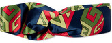 Gucci Twisted Printed Silk-satin Headband - Navy