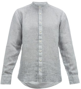 120% Lino Band Collar Slubbed-linen Poplin Shirt - Mens - Grey
