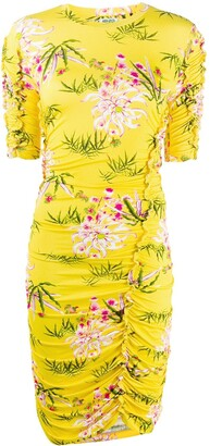 Kenzo Sea Lily Print Ruched Dress