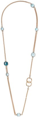 Pomellato 18kt white and rose gold Nudo blue topaz and diamond necklace